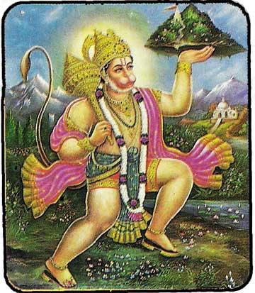 Hanuman portant la montagne