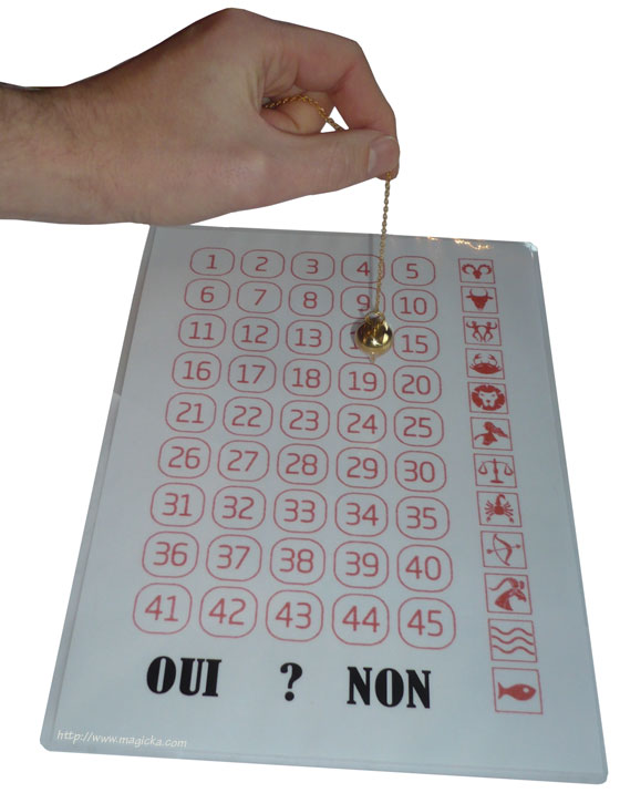 Table lotto pendule radiesthésie